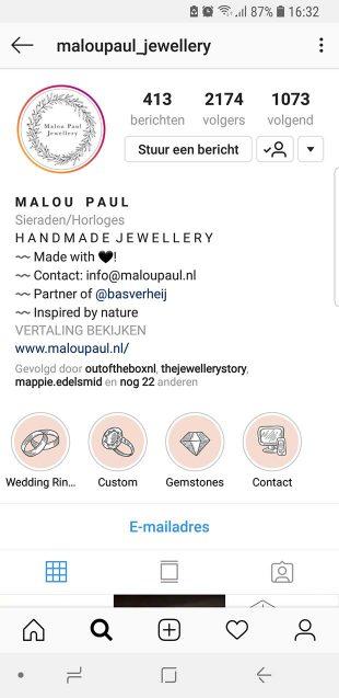 Styling op Instagram Malou Paul Jewellery - duidelijke categorie omslagen