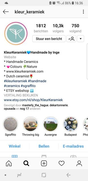 Styling op Instagram Kleur Keramiek - een biografie met emojis en hastags