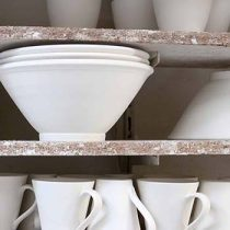Pottery ready to be painted and finished in the oven at Basalt pottery, The Hague, The Netherlands